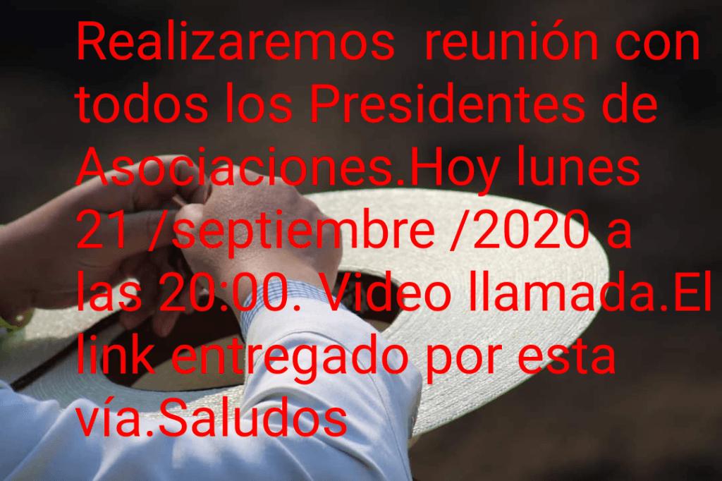 Reunión hoy lunes con todos los Presidentes de Asociaciones